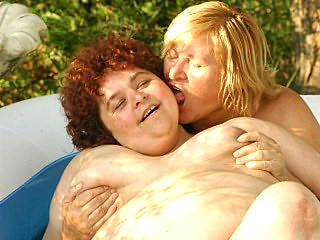 Mature BBWs Frolickwaltzg walk in an Inflatable Pool
